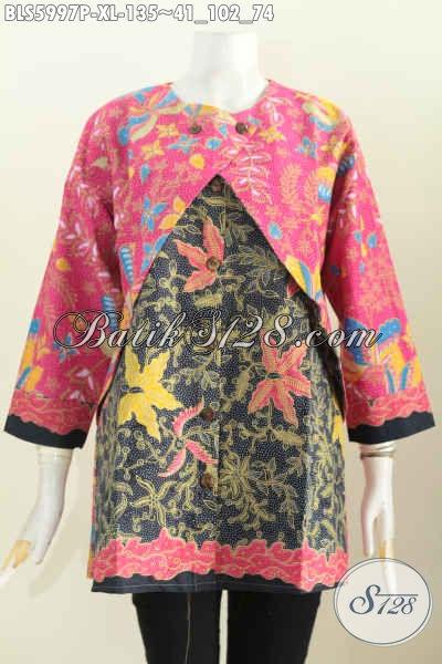 Pakaian Blus Batik Solo Halus Model Keren Kombinasi Rompi, Baju Batik Jawa Terkini Lengan Panjang Motif Unik Harga Murmer [BLS5997P-XL]
