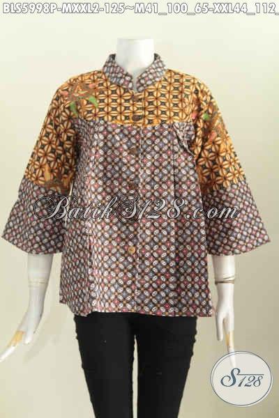 Blus Batik Klasik Motif Kawung, Baju Batik Kerah Shanghai Nagita Bahan Halus Harga 100 Ribuan Saja, Size XXL