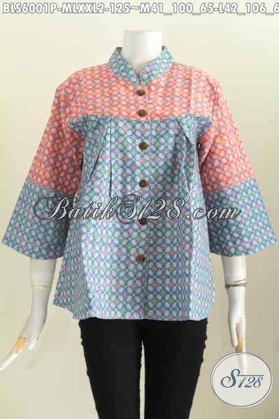 Baju Batik Motif Kawung Warna Keren, Blus Batik Elegan Dan Modis Desain Kerah Shanghai Nagita Proses printing Bikin Wanita Terlihat Istimewa [BLS6001P-M]