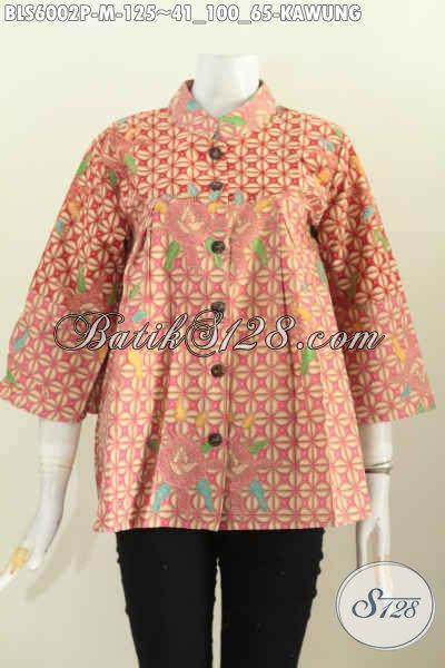 Baju Batik Kerja Nan Istimewa, Busana Batik Modern Halus Proses Printing Motif Kawung, Modis Juga Buat Jalan-Jalan [BLS6002P-M]