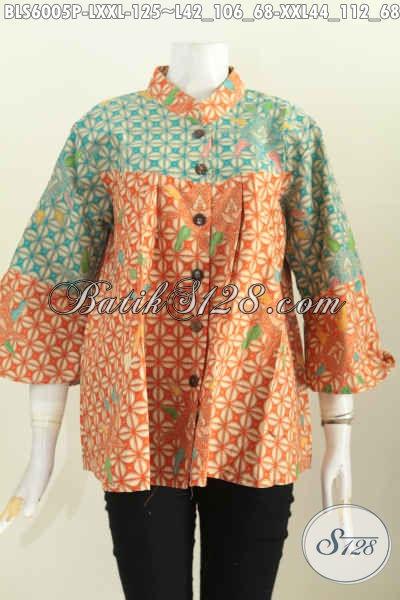 Baju Blus Batik Nan Istimewa, Pakaian Batik Keren Halus Motif Kawung Proses Printing Model Kerah Shanghai Nagita Buat Ke Kantor Dan Acara Santai [BLS6005P-XXL]