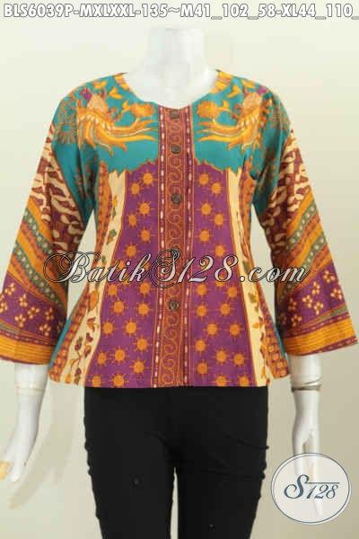Jual Baju Batik Mewah Tanpa Kerah, Busana Batik Trendy Khas Jawa Tengah Bahan Halus Proses Printing Hanya 135K, Cocok Buat Kerja [BLS6039P-M]