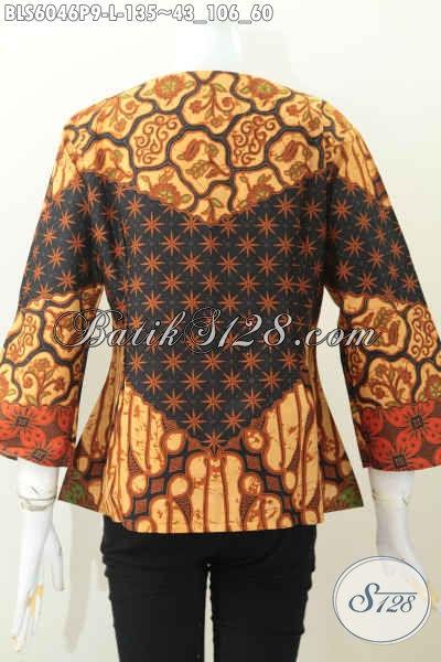 Baju Blus Istimewa, Pakaian Batik Trendy Warna Klasik Desain Berkelas Tanpa Krah Asli Buatan Solo Harga 135K [BLS6046P-L]