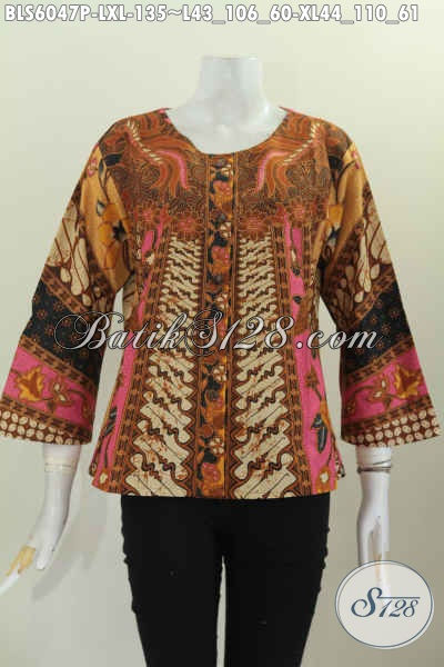 Di Jual Online Harga Terjangkau Blus Batik Elegan Tanpa Krah Desain Terbaru Untuk Tampil Gaya Dan Modis [BLS6047P-L]