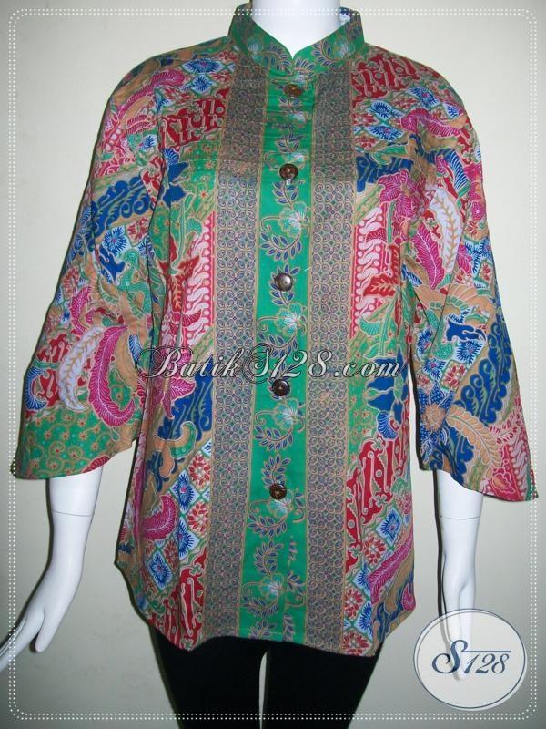 Baju Kerja Kantor Batik Seragam,Blus Kerja Batik Wanita Masa Kini [BLS604P-XL]