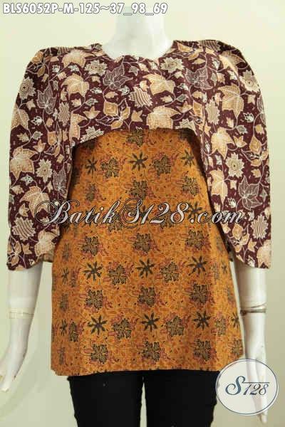 Blus Batik Dual Motif, Pakaian Batik Solo Istimewa Desain Keren Proses Printing Untuk Penampilan Lebih Bergaya, Size M