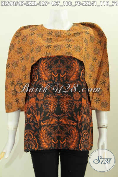 Batik Blus Istimewa, Busana Batik Modern Dari Solo, Pakaian Batik Jawa Keren Untuk Tampil Gaya Dengan Harga Murmer [BLS6056P-L , XXL]