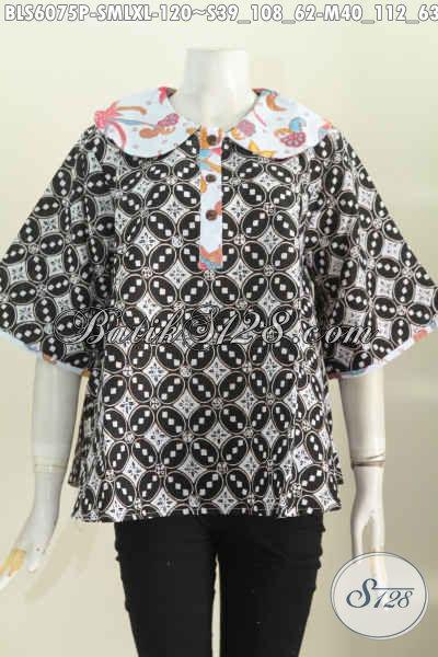 Sedia Blus Batik Kerah Bulat Istimewa Modis Buat Santai Elegan Untuk Kerja, Size M – L – XL