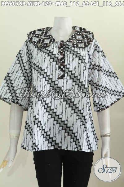 Jual Batik Blus Keren Modis Bahan Adem Proses Printing Kwalitas Istimewa, Busana Batik Solo Untuk Wanita Karir Tampil Modis Dan Cantik [BLS6076P-XL]