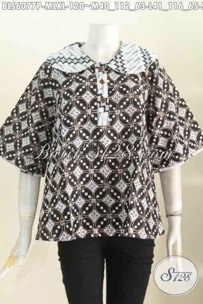 Sedia Baju Blus Kerah Bulat, Pakaian Batik Masa Kini Berbahan Adem Proses Printing Kwalitas Istimewa Harga 100 Ribuan [BLS6077P-M]