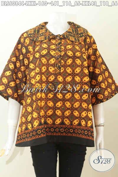 Batik Blus Solo Kwalitas Bagus Bahan Adem Proses Cap Motif Klasik Desain Kerah Bulat Untuk Tampil Terlihat Istimewa [BLS6084C-L]