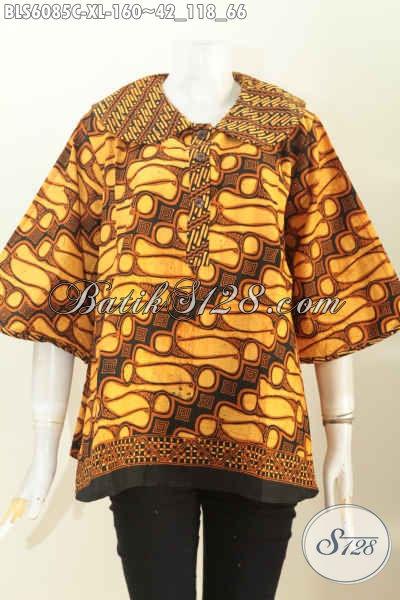 Blus Batik Solo Proses Cap Model Kerah Bulat Motif Klasik Di Jual Online 160 Ribu, Size XL