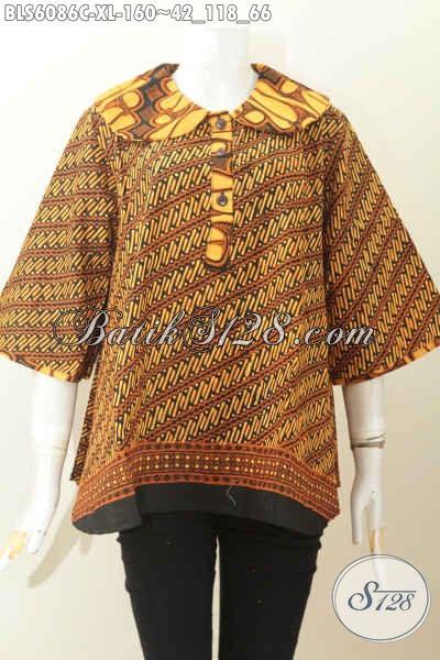 Sedia Pakaian Batik Modern Nan Istimewa, Pusat Produk Baju Batik Solo Masa Kini Berbahan Halus Harga Terjangkau [BLS6086C-XL]