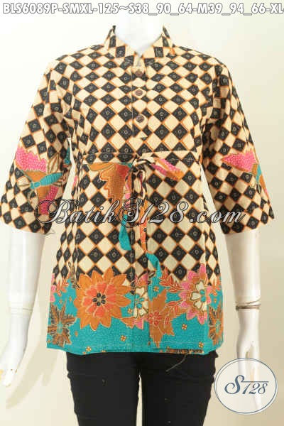 Baju Blus Modis Kerah Shanghai Lengan 3/4, Pakaian Batik Modern Pake Tali depan Karet Belakang Motif Bagus Proses Printing Harga 125K [BLS6089P-S ,M , XL]