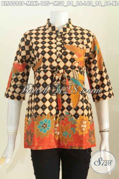 Model Pakaian Batik Kerja Elegan Wanita Muda Dan Dewasa Untuk Tampil Modis Dan Bergaya Berbahan Halus Proses Printing Hanya 100 Ribuan, Size M – L – XXL