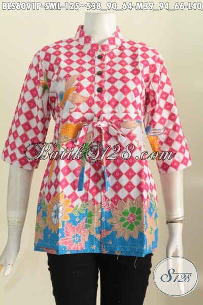 Sedia Pakaian Batik Perempuan Masa Kini, Blus Batik Kerah Shanghai Lengan 3/4 Bahan Halus Proses Printing Harga 125K, Size S – L
