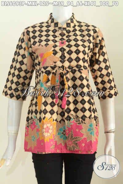 Baju Blus Modern Lengan 3/4, Blus Batik Pakai Karet Belakang Kwalitas Istimewa Motif Bagus Printing Hanya 100 Ribuan, Size M – XL