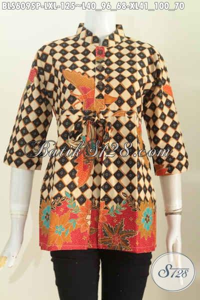 Jual Baju Atasan Batik Wanita Karir Masa Kini, Blus Batik 3/4 Kerah Shanghai Di Lengkapi Karet Belakang, Size L – XL