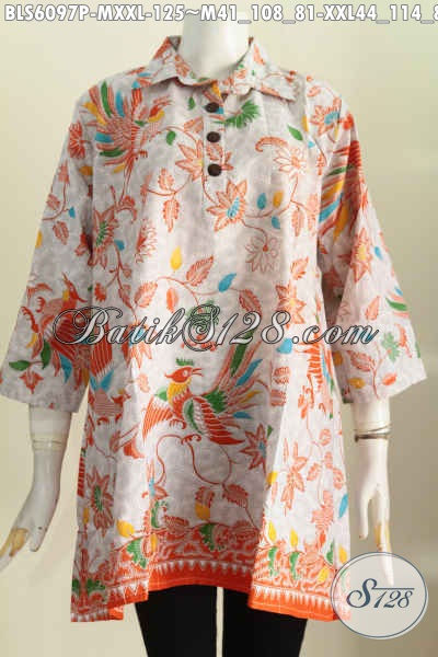Baju Blus Batik Keren Dan Istimewa, Busana Batik Solo Model Kemeja Untuk Wanita Lebih Bershaja [BLS6097P-M]