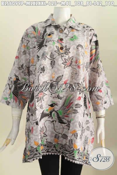Baju Batik Desain Terkini Dengan Kerah Kemeja Model A, Bahan Adem Motif Trendy Proses Printing, Cocok Buat Hangout, Size M – L