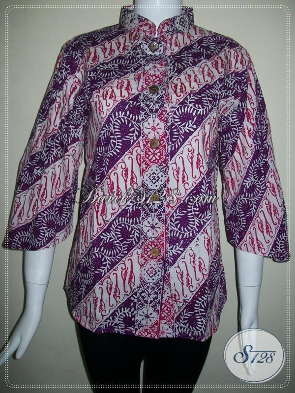 Blus Batik Krah Shanghai,Batik Wanita Krah Shanghai [BLS609CG-M]