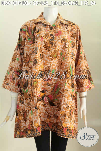 Batik Blus Solo Halus Keren Bahan Adem Proses Printing Model A Kerah Kemeja Nan Istimewa [BLS6101P-XL]