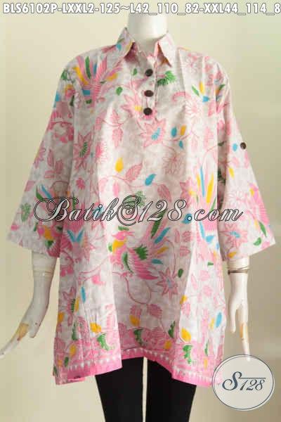 Blus Batik Warna Pink, Pakaian Batik Modern Bahan Adem Proses Printing Model A Kerah Kemeja, Cocok Buat Santai Dan Kerja [BLS6102P-XXL]