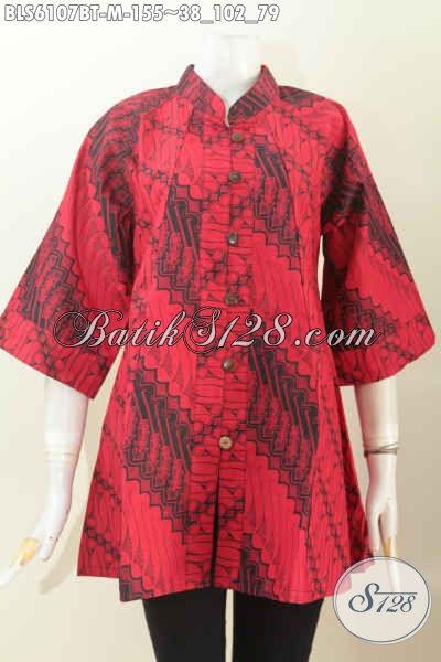 Busana Batik Elegan Warna Monokrom Merah Hitam, Blus Batik Modis Kerah Shanghai Lengan 3/4 Untuk Wanita yang Ingin Tampil Beda [BLS6107BT-M]
