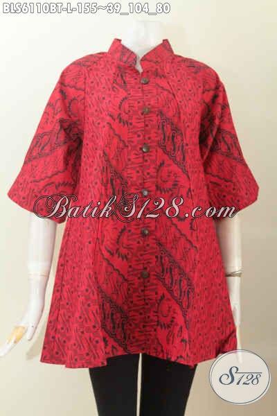Sedia Blus Batik Monokrom Kwalitas Bagus Bahan Adem Motif Berkelas Proses Kombinasi Tulis Desain Kerah Shanghai Lengan 3/4 [BLS6110BT-L]