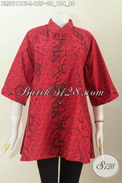 Jual Online Blus Batik Monokrom, Baju Batik Wanita Masa Kini Untuk Tampil Gaya Dan Berkelas Dengan Harga Terjangkau, Asli Buatan Solo, Size L