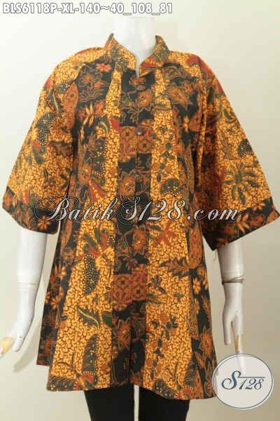 Jual Baju Blus Kerah Shanghai Model Lengan 3/4, Busana Batik Istimewa Untuk Penampilan Mempesona, Size XL