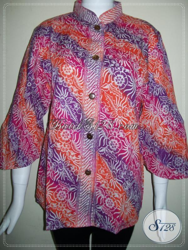 Baju BAtik Kerja Wanita Model Lengan Besar Dan Trendy [BLS613CG-XL]