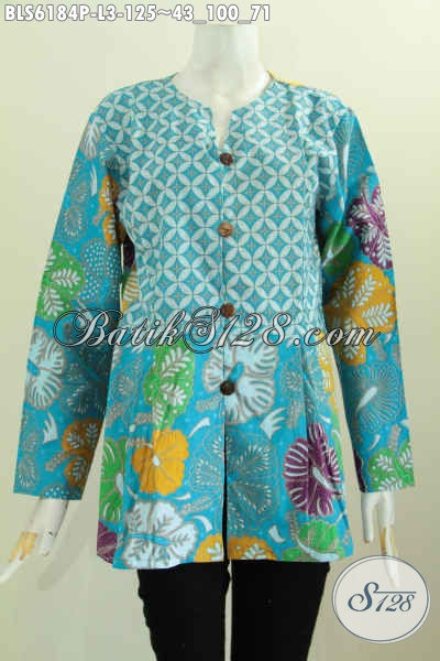 Sedia Busana Batik Solo Modis Warna Biru Penunjang Penampilan Lebih Modern Dan Istimewa, Proses Printing [BLS6184P-L]