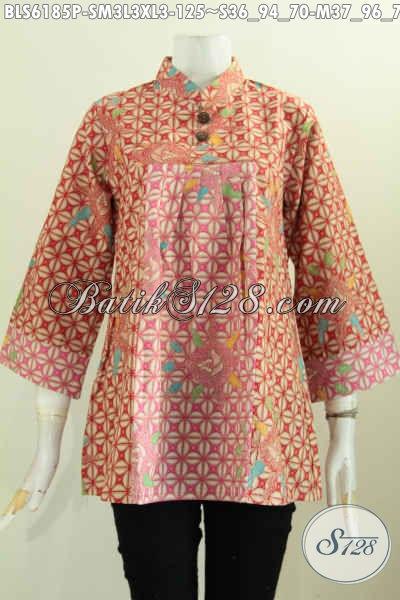 Produk Baju Batik Wanita Terbaru, Hadir Dengan Kerah Shanghai Motif Elegan Proses Printing, Cocok Buat Kerja Dan Santai [BLS6185P-L]