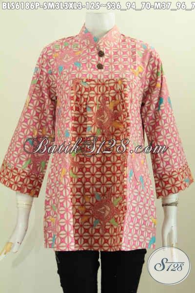 Baju Batik Bagus Banget, Blus Batik Keren Dan Berkelas Desain Kerah Shanghai Berbahan Halus Proses Printing Untuk Penampilan Makin Gaya [BLS6186P-L]