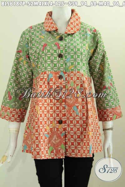 Baju Batik Dual Warna, Blus Batik Kerah Bulat Trrend Mode Pakai Wanita Karir Masa Kini, Di Jual Online 125K [BLS6187P-M , XL]
