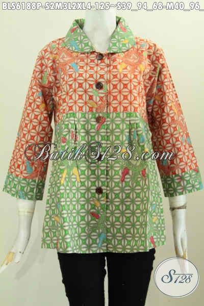 Produk Baju Batik Santai Kwalitas Bagus Bahan Halus Motif Elegan Proses Printing, Cocok Juga Untuk Acara Formal [BLS6188P-M , XL]