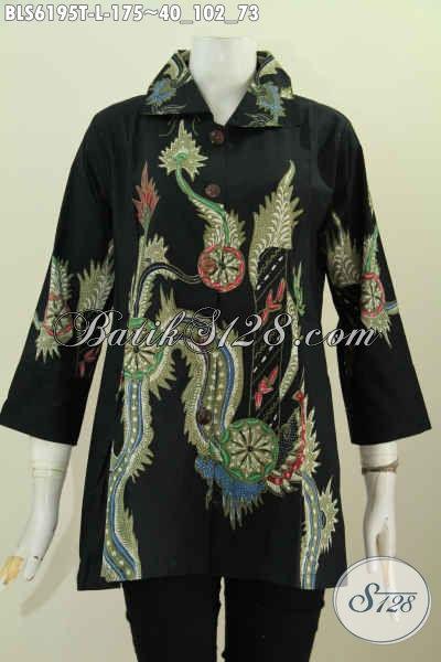 Jual Online Blus Kerah Kotak Istimewa, Pakaian Batik Elegan Untuk Kerja Dan Acara Formal Proses Tulis Motif Terkini [BLS6195T-L]