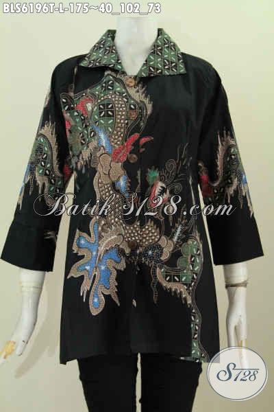 Baju Batik Wanita Tebaru Hadir Dengan Desain Kerah Kotaj Bahan Halus Motif Mewah Tulis Harga 170 Ribuan [BLS6196T-L]