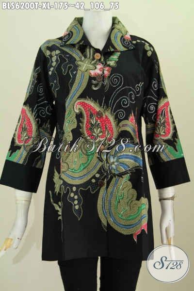 Baitk Blus Kerah Kotak Modis Untuk Santai Dan Resmi, Baju BAtik Solo Istimewa Bikin Penampilan Makin Cantik Maksimal [BLS6200T-XL]