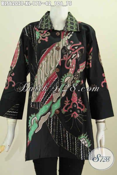 Toko Batik Online, Jual Blus Kerah Kotak Motif Mewah Buat Wanita Dewasa Terlihat Elegan Dan Mewah Proses Tulis [BLS6202T-XL]