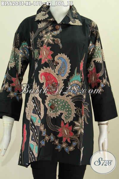 Blus Batik Wanita Untuk Kerja Dan Kondangan, Busana Batik Tulis Kerah Kotak Elegan Di Jual Online 175K [BLS6203T-XL]