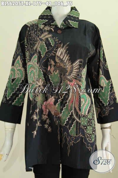 Blus Elegan Khas Jawa Tengah, Baju Batik Tulis Kerah Kotak Size XL Bahan Adem Untuk Seragam Kerja Dan Berkelas [BLS6205T-XL]