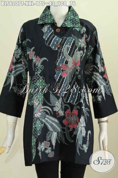 Baju Batik Jawa Nan Istimewa, Pakaian Batik Modern Trend Masa Kini, Blus Kerah Kotak Spesial Untuk Wanita Gemuk Terlihat Lebih Ramping [BLS6207T-XXL]