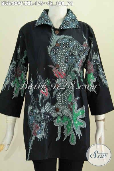 Baju Blus Exclusive Untuk Perempuan Gemuk, Hadir Dengan Dersain Kerah Kotak Motif Klasik Proses Tulis Hanya 175K [BLS6209T-XXL]