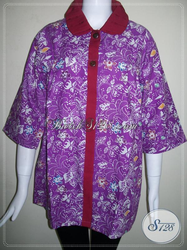 Blus Batik Wanita Ukuran Jumbo,Batik Trendy Masa Kini [BLS620C-XXL]