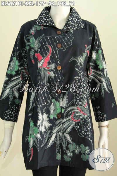 Produk Batik Blus 3L Elegan Dasar Hitam Motif Bagus Proses Tulis, Istimewa Buat Acara Resmi [BLS6210T-XXL]