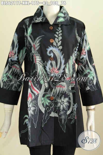 Baju Blus Istimewa Ukuran Jumbo, Pakaian Batik Tulis Kerah Kotak Spesial Untuk Wanita Berbadan Gemuk Terlihat Cantik Mempesona [BLS6211T-XXL]