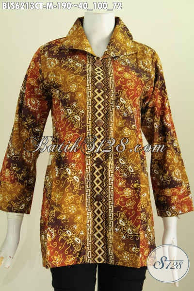 Baju Batik Elegan Proses Cap Tulis Motif Mewah Trend Masa Kini Model Kerah Kotak Untuk Penampilan Makin Mempesona [BLS6213CT-M]