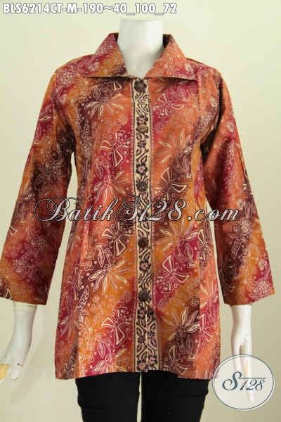 Pakaian Batik Wanita Muda, Blus Kerah Kotak Kwalitas Halus Motif Mewah Cap Tulis Harga 190 Ribu [BLS6214CT-M]